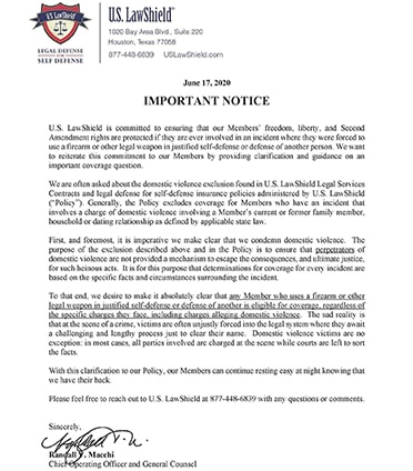 US Law Shield Letter